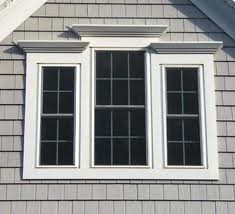 Siding wood-shake style, light grey with white trim picture, New Vinyl Siding in NH and ME